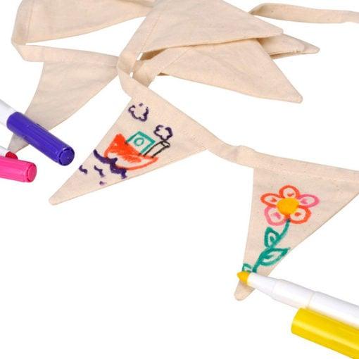 Blanco mini vlaggenlijn, goki, textielkrijt, knutselen, creatief, wonderzolder.nl