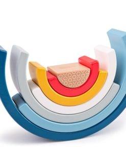 Houten regenboog FSC hout, duurzame regenboog, Bigjigs, open ended spel, houten speelgoed, wonderzolder.nl