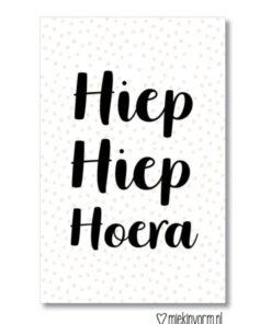 Hiep Hiep Hoera, mini kaartje, miekinvorm, feest, wonderzolder.nl