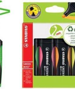 Greenboss neon set, GREEN BOSS, duurzaam, markeerstift, neon markeerstift, stabilo, wonderzolder.nl