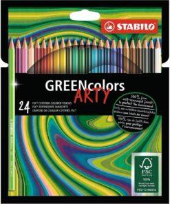 Greencolors Arty 24 stuks, Stabilo, kleurpotloden, FSC keurmerk, kleuren, tekenen, wonderzolder.nl
