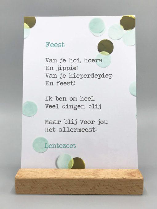 gedicht feest, lentezoet, verjaardag, feestjes, kaart, wonderzolder.nl