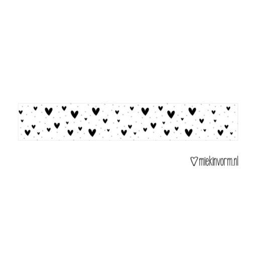 Washi tape Zwarte hartjes met stipjes, miekinvorm, masking tape, wonderzolder.nl