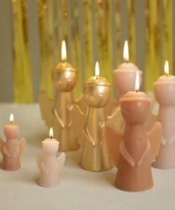 Kleine roze Engel Silhouette kaars, Rustik Lys, Engel, Sculpture candle, kerst, wonderzolder.nl